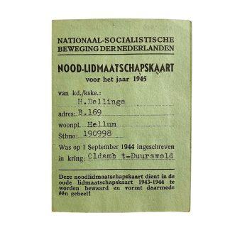 Original WWII Dutch NSB Emergency (Temporary) membership card 1945!