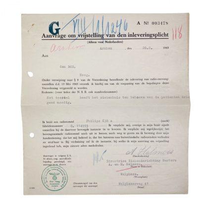 Original WWII Dutch radio submission obligation document Wolfheze 1943
