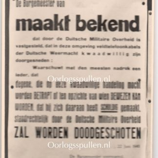 Original WWII Dutch announcement poster photo Valkenburg