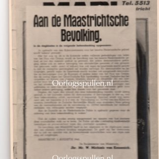 Original WWII Dutch announcement poster photo Maastricht