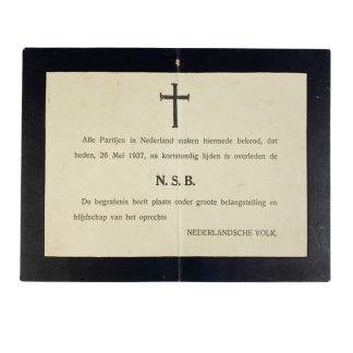 Original WWII Dutch Anti-NSB death card