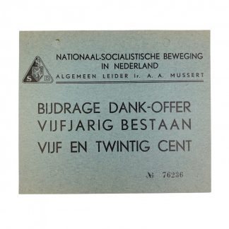 Original WWII Dutch NSB 'contribution card 5 years anniversary'