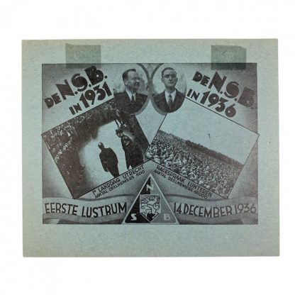 Original WWII Dutch NSB 'contribution card 5 years anniversary'