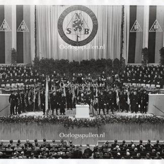 Original WWII Dutch SS large photo 'Anton Mussert during speech'