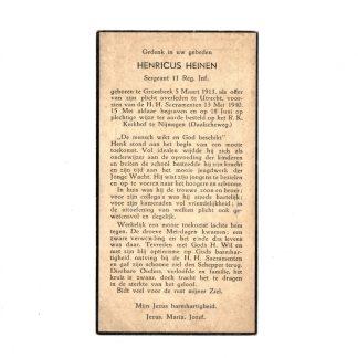 Original WWII Dutch army death card – 13 May 1940