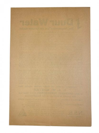 Original WWII Dutch NSB 'Duur Water' leaflet