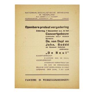 Original WWII Dutch NSB leaflet 'Public protest meeting'