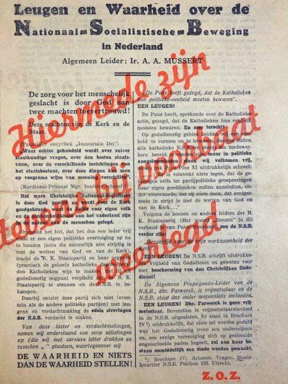 Original WWII Dutch NSB leaflet 'Leugen en Waarheid'