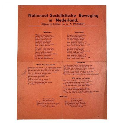 Original WWII Dutch NSB song leaflet