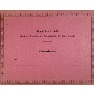 Original WWII German Reichsbahn meal card 'Utrecht'