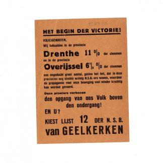 Original WWII Dutch NSB leaflet Van Geelkerken 1935