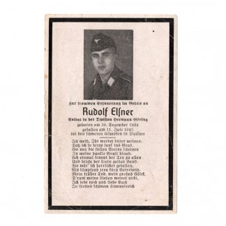 Original WWII German Hermann Göring division death card – Sicily