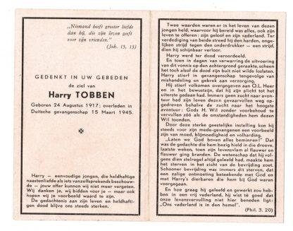 Original WWII Dutch resistance death card