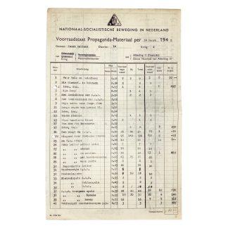 Original WWII Dutch NSB propaganda stock list Haarlem
