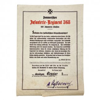 Original WWII German 'Grebbeberg' citation – Infanterie Regiment 368