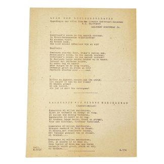 Original WWII Dutch Waffen-SS song leaflet
