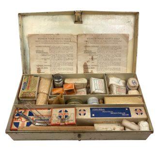 Original WWII Dutch 'Luchtbeschermingsdienst' first aid box with containment
