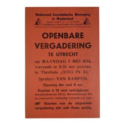 Original WWII Dutch NSB leaflet Utrecht