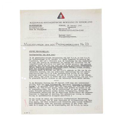 Original WWII Dutch NSB document 'Announcements from the Propaganda leader'