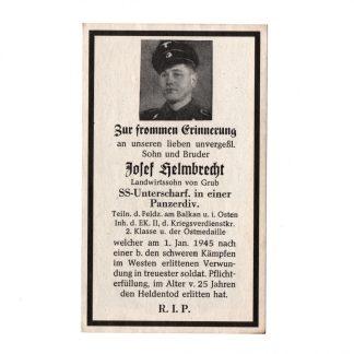 Original WWII German Waffen-SS Panzer death card - Westfront