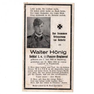 Original WWII German Waffen-SS Panzer death card – France