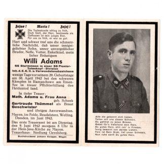 Original WWII German Waffen-SS Pionier Totenkopf death card – Eastern Front