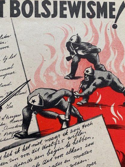 Original WWII Dutch Waffen-SS poster 'Op tegen het Bolsjewisme!'