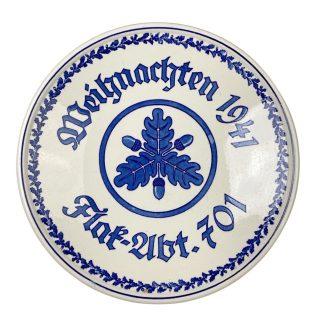 Original WWII German Luftwaffe Flak-abteilung 701 porcelain plate