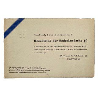 Original WWII Dutch SS invitation card Feldmeijer