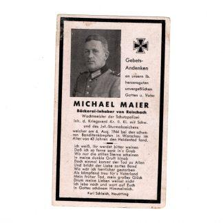 Original WWII German WH death card - Warsaw Uprising (Poland)