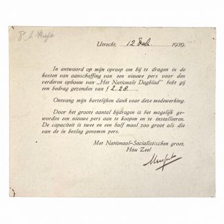 Original WWII Dutch NSB Anton Mussert hand signed autograph