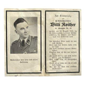 Original WWII German Waffen-SS death card