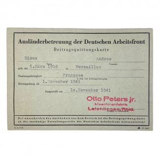 Original WWII German D.A.F. support abroad card - French member from Versailles