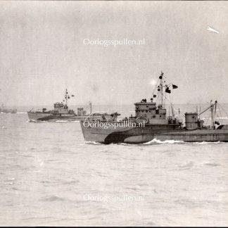 Original WWII British photo - Minesweeping in the Scheldt