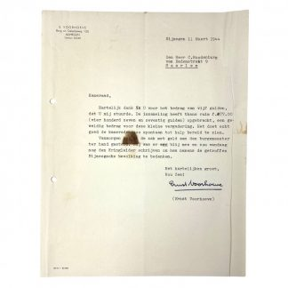 Original WWII Dutch NSB letter with signature Ernst Voorhoeve
