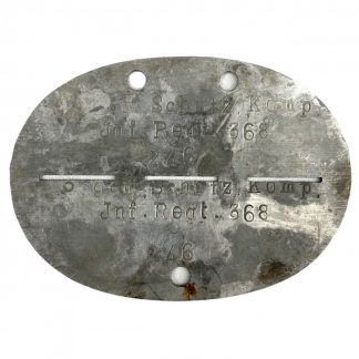 Original WWII German Erkennungsmarke 'Infanterie-regiment 368' Holland (Grebbeberg)