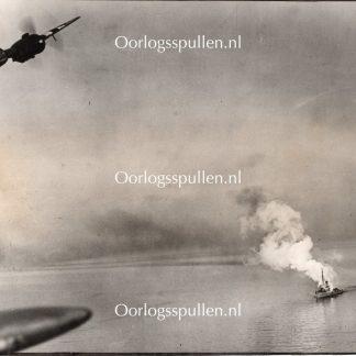 Original WWII British photo - R.A.F. Beaufighters attack near the Frisian Islands