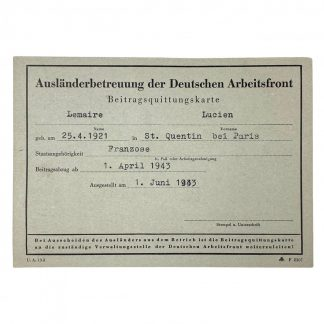 Original WWII German D.A.F. support abroad card - French member from St. Quentin