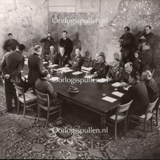 Original WWII British photo - Unconditional Surrender in Rheims