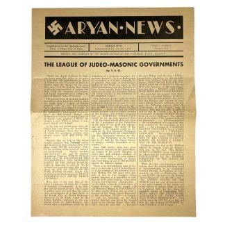 Original WWII British newspaper 'Aryan News' 1936