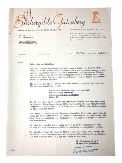 Original WWII German documents NSB member C. Roodenburg