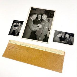 Original WWII Dutch Waffen-SS photo set - Strijd & Offer teken presentation for Dutch Waffen-SS volunteer Van Exel