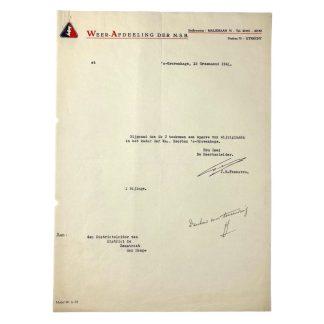 Original WWII Dutch NSB document with autograph J.E. Feenstra