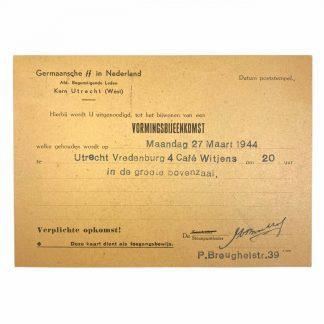 Original WWII Dutch Germaansche SS invitation card Utrecht