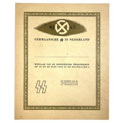 Original WWII Dutch Germaansche SS citation