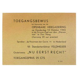 Original WWII Dutch SS entrance ticket for speech of Henk Feldmeijer