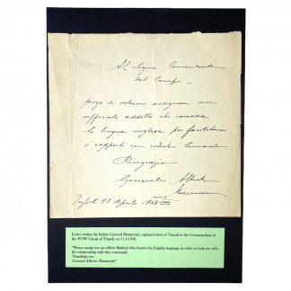 Original WWII Italian letter General Alberto Mannerini