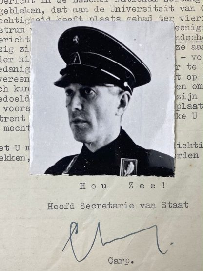 Original WWII Dutch NSB letter with photo hand signed by Johan Carp