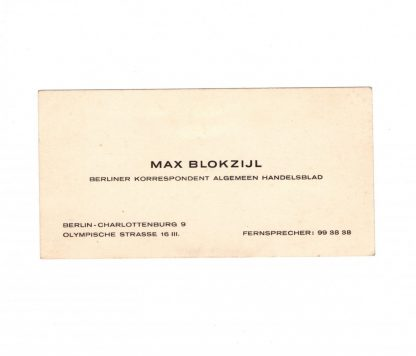 Original WWII Dutch NSB business card Max Blokzijl