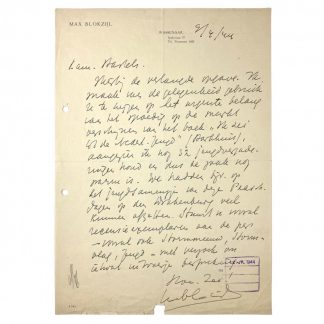 Original WWII Dutch NSB handwritten Max Blokzijl letter